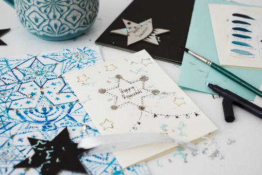 Handwritten DIY Hanukkah Holiday Cards with Star Ornaments