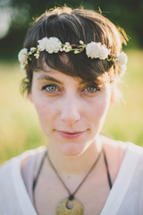 a bohemian bride in sunset light
