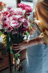 Woman Holding a Flower Bouquet.