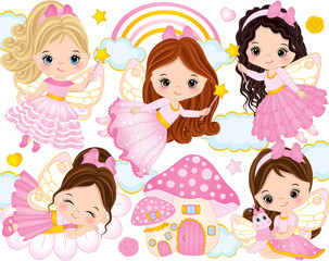Vector Set with Cute Little Fairies