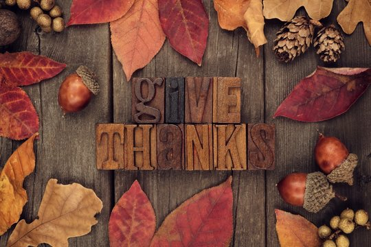 Give Thanks spelled with wooden letterpress with frame of autumn leaves over a rustic wood background