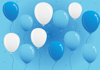 Blue and White Party Balloons Vector Illustration