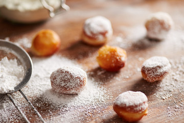 Donut holes with icing sugar