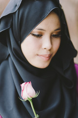 beautiful malaysian young woman in hijab
