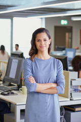Portrait of attractive business woman team leader entrepenuer in trendy office