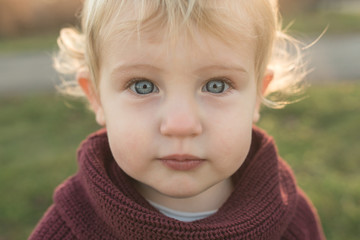 Up Close Shot Of Cute Blonde Toddler