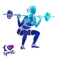 Bright watercolor silhouette of a women with a barbell. Vector sport illustration. Graphic figure of the athlete. Active people. Recreation lifestyle. I love sport.