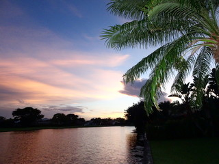 sunset on the lake on tropical island