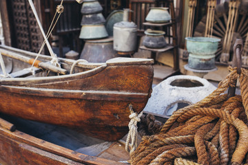 Vintage details of fisherman???????s net and rope