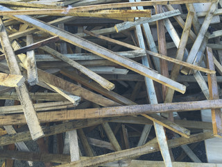Discarded pile of scrap lumber