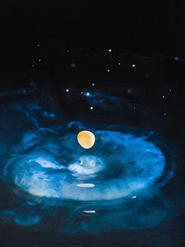 A galaxy of watercolor drops