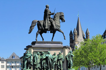 Equestrian statue of Wilhelm II in front of Great St. Martin Church in Cologne, Germany