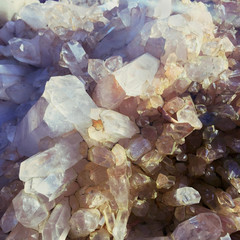 Close Up Of Natural Quartz Crystal Shining In Morning Light