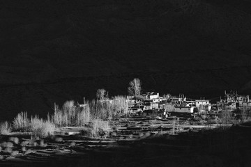 Black and white image of the dramatic landscape of Mustang, Nepal.