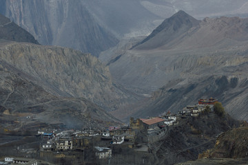 Village of Jharkot in Mustang Region of Nepal perched atop a hill.