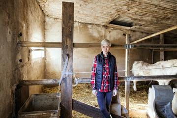 Women farmer standing on farm animal.