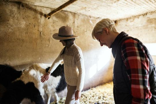Women farmers taking care ponies on farm.