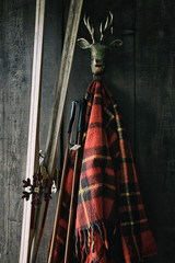 Skis and poles leaning against plaid blanket