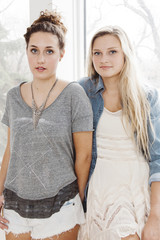 Portrait of two attractive young women