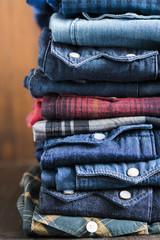 jean shirts in closeup