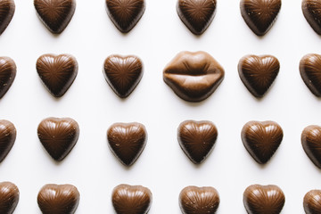 Grid of chocolate hearts and lips candy