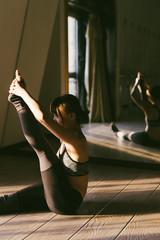 Dancer practicing in studio