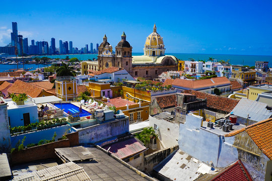 Old Town Of Cartagena in Colombia Over Rooftops - UNESCO World Heritage Site