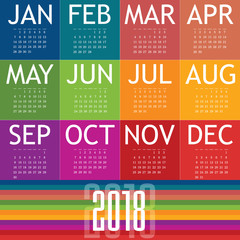 calendar of 2018 illustration