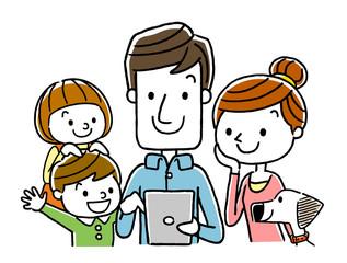 家族:タブレット、インターネット