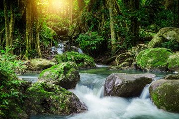 Klong lan waterfall, beautiful waterfall in rain forest at Kampangphet, Thailand.