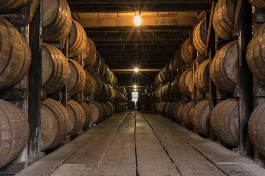 Starburst on Lights in Bourbon Aging Warehouse