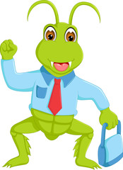 funny grasshopper cartoon standing with smile and bring bag