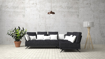 The modern interior of Living Area and Soft Sofa.3D render image