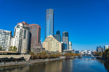 Melbourne cityscape on sunny day