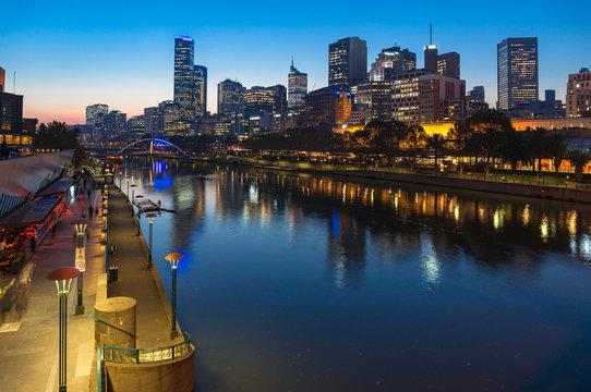 Yarra river promenade and Melbourne CBD at night