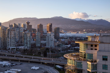 Aerial view of Downtown Vancouver City, BC, Canada, during sunset.