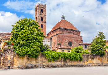 St. Martin's Square in the Italian town of Lucca. City landscape.