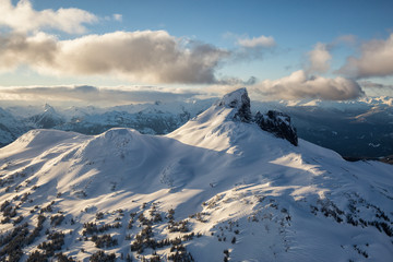Mountains around Garibaldi Lake from an aerial perspective. Picture taken near Whistler, British Columbia, Canada.