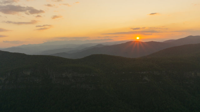 A sunset view of the Linville Gorge in North Carolina.