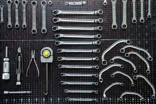Craftsman tool service auto mechanic tools wrench,.wrench, spanner, monkey wrench, screw wrench, The image of a tool organizer, ..