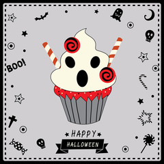 Ghost cupcake for Happy Halloween party on gray background colors.