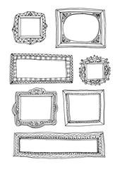 Hand drawn doodle frames set