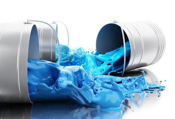 3d Blue paint splashing out of cans