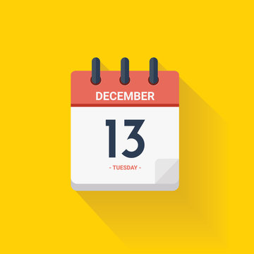 Day calendar with date December 13, 2017. Vector illustration