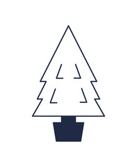 Decorated christmas tree isolated vector icon. Merry christmas and happy new year symbol illustration.