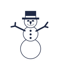 Christmas snowman isolated vector icon. Merry christmas and happy new year symbol illustration.