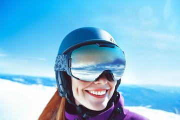 woman in mountain goggles