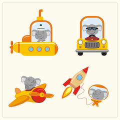 Set of isolated elephant in various transport: airplane, submarine, car, space rocket. Collection of funny elephant in transport in cartoon style.