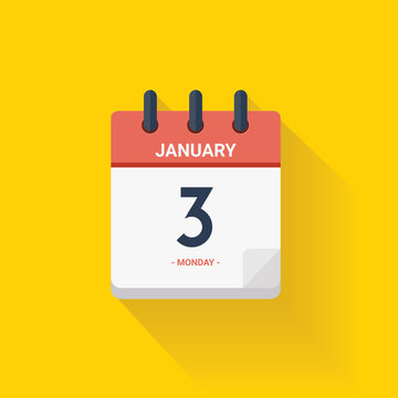Day calendar with date January 3, 2017. Vector illustration