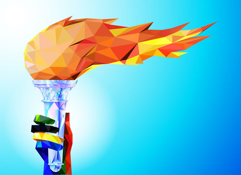 Torch, Flame.  A hand from the Olympic ribbons holds the Cup with a torch on a blue background in a geometric triangle of XXIII style Winter games